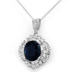 6.53 CTW Blue Sapphire & Diamond Pendant 18K White Gold - REF-178N2Y - 12938