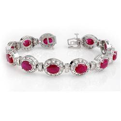 16.0 CTW Ruby & Diamond Bracelet 14K White Gold - REF-400K2W - 13903