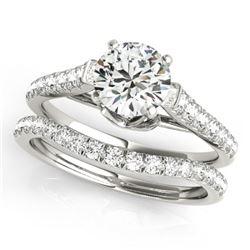 1.33 CTW Certified VS/SI Diamond Solitaire 2Pc Wedding Set 14K White Gold - REF-150K9W - 31679