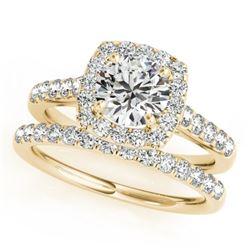1.70 CTW Certified VS/SI Diamond 2Pc Wedding Set Solitaire Halo 14K Yellow Gold - REF-235W3F - 30719