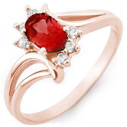 0.70 CTW Pink Tourmaline & Diamond Ring 14K Rose Gold - REF-28Y4K - 10486