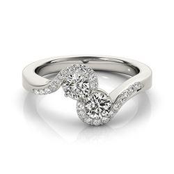 1.25 CTW Certified VS/SI Diamond 2 Stone 2 Stone Ring 18K White Gold - REF-225H5A - 28201