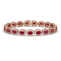 15.2 CTW Ruby & Diamond Halo Bracelet 10K Rose Gold - REF-255X3T - 40455