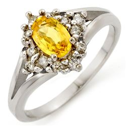 0.95 CTW Yellow Sapphire & Diamond Ring 10K White Gold - REF-30F9N - 10177