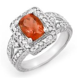 2.85 CTW Rubellite & Diamond Ring 14K White Gold - REF-118T2M - 14373