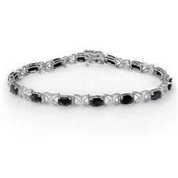 10.81 CTW Blue Sapphire & Diamond Bracelet 18K White Gold - REF-97M3H - 13825