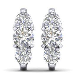 2 CTW Certified VS/SI Diamond 3 Stone Stud Earrings 14K White Gold - REF-230A4X - 30477