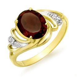 2.03 CTW Garnet & Diamond Ring 10K Yellow Gold - REF-16K4W - 12660