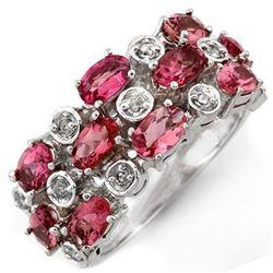 3.20 CTW Pink Tourmaline & Diamond Ring 10K White Gold - REF-57A8X - 11493