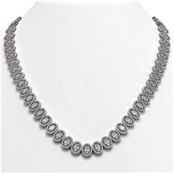 42.56 CTW Oval Diamond Designer Necklace 18K White Gold - REF-7835W8F - 42812