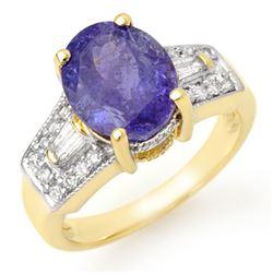 5.55 CTW Tanzanite & Diamond Ring 10K Yellow Gold - REF-144F8N - 11693