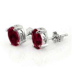 1.50 CTW Ruby Earrings 18K White Gold - REF-15F3N - 11303