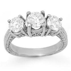 1.50 CTW Certified VS/SI Diamond 3 Stone Ring 18K White Gold - REF-255W3F - 14309