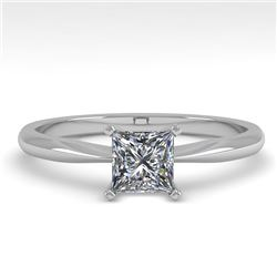0.55 CTW Princess Cut VS/SI Diamond Engagement Designer Ring 18K White Gold - REF-102F2N - 32394