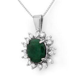 4.20 CTW Emerald & Diamond Pendant 14K White Gold - REF-78Y2K - 13606