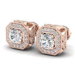 2.75 CTW VS/SI Diamond Solitaire Art Deco Stud Earrings 18K Rose Gold - REF-472K8W - 37323