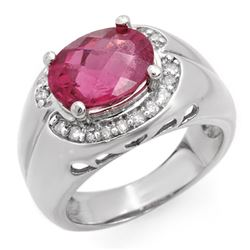 3.83 CTW Pink Tourmaline & Diamond Ring 10K White Gold - REF-86N4Y - 10139