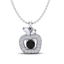 0.30 CTW VS/SI Diamond Micro Pave Halo Necklace 18K White Gold - REF-35M6H - 20375