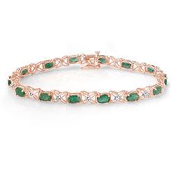 6.85 CTW Emerald & Diamond Bracelet 18K Rose Gold - REF-109H3A - 13894