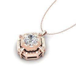0.75 CTW VS/SI Diamond Solitaire Art Deco Stud Necklace 18K Rose Gold - REF-202N5Y - 36879