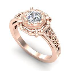 0.53 CTW VS/SI Diamond Solitaire Art Deco Ring 18K Rose Gold - REF-136M4H - 36870