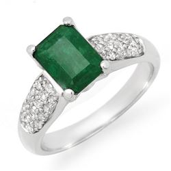 1.76 CTW Emerald & Diamond Ring 10K White Gold - REF-35X6T - 14548