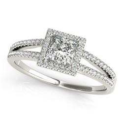 1.4 CTW Certified VS/SI Princess Diamond Solitaire Halo Ring 18K White Gold - REF-428M2H - 27153