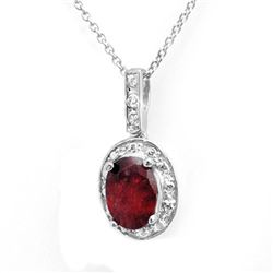 1.02 CTW Ruby & Diamond Pendant 18K White Gold - REF-18X5T - 14045