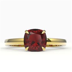 1.50 CTW Cushion Cut Garnet Designer Engagement Ring 18K Yellow Gold - REF-33W3F - 22144