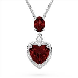 4 CTW Garnet & VS/SI Diamond Designer Heart Necklace 10K White Gold - REF-26T2M - 22523