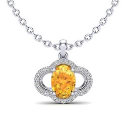 1.75 CTW Citrine & Micro Pave VS/SI Diamond Necklace 10K White Gold - REF-29T5M - 20628