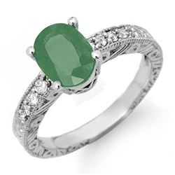 2.56 CTW Emerald & Diamond Ring 14K White Gold - REF-49Y6K - 14151