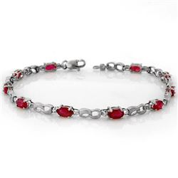 3.51 CTW Ruby & Diamond Bracelet 18K White Gold - REF-60A9X - 11401