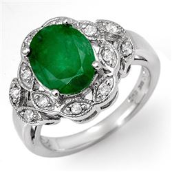 2.75 CTW Emerald & Diamond Ring 10K White Gold - REF-52M8H - 11906