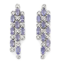 4.33 CTW Tanzanite & Diamond Earrings 14K White Gold - REF-118M2H - 10091