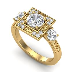 1.55 CTW VS/SI Diamond Solitaire Art Deco 3 Stone Ring 18K Yellow Gold - REF-272W8F - 37276