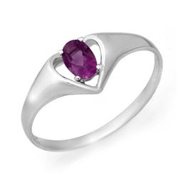0.21 CTW Amethyst Ring 10K White Gold - REF-9Y3K - 12383