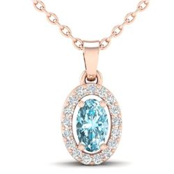 0.40 CTW Sky Blue Topaz & Micro Pave VS/SI Diamond Necklace Halo 14K Rose Gold - REF-22Y2K - 21313