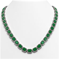 58.59 CTW Emerald & Diamond Halo Necklace 10K White Gold - REF-824H4A - 41330