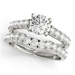 1.97 CTW Certified VS/SI Diamond 2Pc Set Solitaire Wedding 14K White Gold - REF-519N3Y - 32090