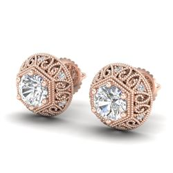 1.31 CTW VS/SI Diamond Solitaire Art Deco Stud Earrings 18K Rose Gold - REF-236H4A - 36921