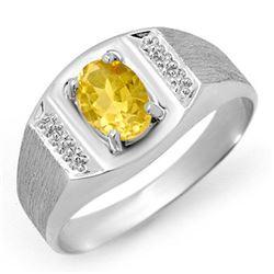 2.0 CTW Citrine Men's Ring 10K White Gold - REF-19H8A - 12307