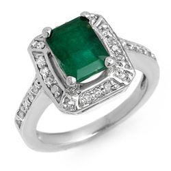 2.40 CTW Emerald & Diamond Ring 18K White Gold - REF-80H2A - 11150
