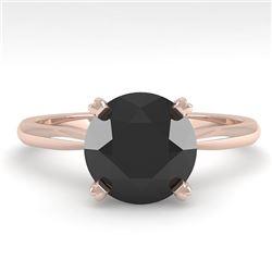 2.0 CTW Black Diamond Engagement Designer Ring 18K Rose Gold - REF-74X2T - 32447