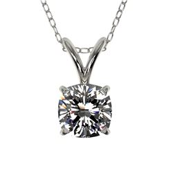 0.50 CTW Certified VS/SI Quality Cushion Cut Diamond Necklace 10K White Gold - REF-79N5Y - 33169
