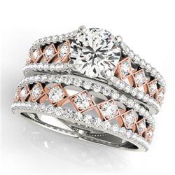 2.01 CTW Certified VS/SI Diamond Solitaire 2Pc Set 14K White & Rose Gold - REF-427K6W - 31932