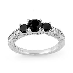 1.40 CTW VS Certified Black & White Diamond Ring 14K White Gold - REF-63W3F - 11836