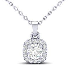 0.38 CTW Citrine & Micro VS/SI Diamond Heart Necklace Halo 18K White Gold - REF-30K2W - 21308