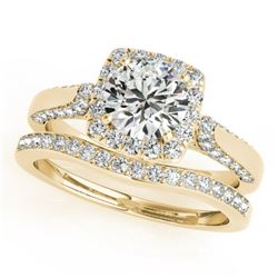 1.37 CTW Certified VS/SI Diamond 2Pc Wedding Set Solitaire Halo 14K Yellow Gold - REF-156N9Y - 30707