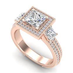 2.5 CTW Princess VS/SI Diamond Micro Pave 3 Stone Ring 18K Rose Gold - REF-527F3N - 37197